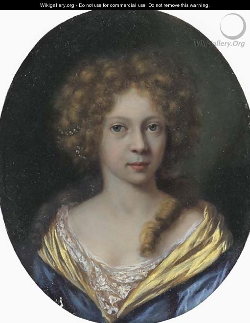 Portrait of a lady, small bust-length, in a blue dress with a yellow border - Arie de Vois