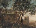 Trees by a house - Anthonie Waterloo