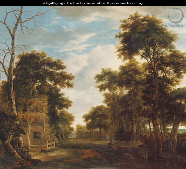 A wooded landscape with a dog barking at a swineherd and pig on a path - Anthonie Waterloo
