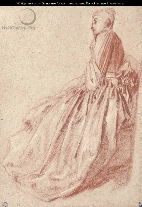 A woman in a long dress, seated in profile to the left - Jean-Antoine Watteau