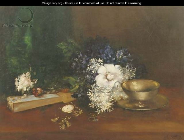 White and blue flowers, a fan and a pocketwatch - Antoine Vollon