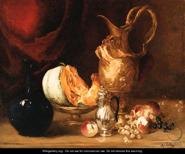 Still life of fruit and vessels before a draped curtain - Antoine Vollon