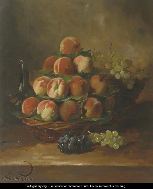 Peaches and grapes in a basket - Antoine Vollon