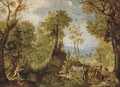 Hunters in a wooded landscape with a village and an extensive landscape beyond - Anthonie Mirou