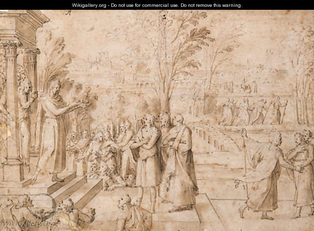 Figures imploring a Priest on the Steps of a Temple - Antoine Caron
