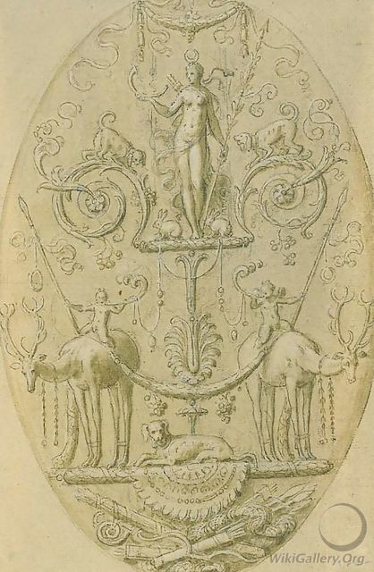 Design for a decorative panel with a Triumph of Diana - Antoine Caron