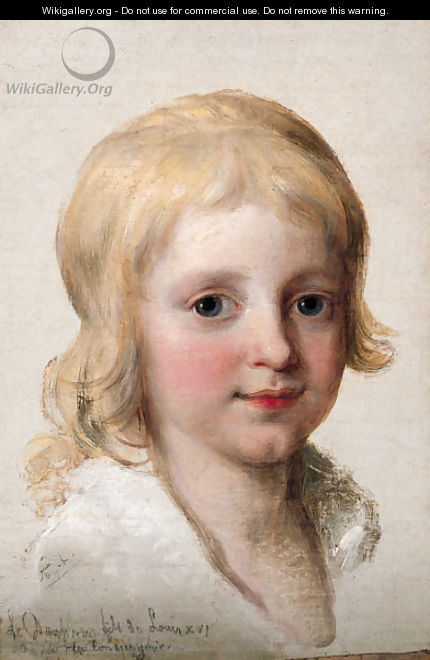 Portrait study of Francesco, Crown Prince of Naples, later King of the Two Sicilies (1777-1830), as a boy, head-and-shoulders - Angelica Kauffmann