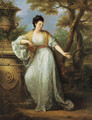 Portrait of Mrs. Mary Pocklington of Winthorpe Hall, Nottinghamshire, full-length, in a white dress with a red sash, holding a book in her left hand, - Angelica Kauffmann