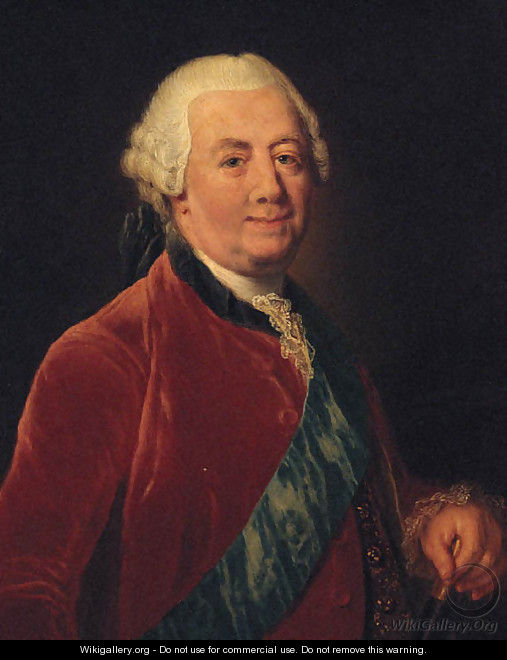 Portrait of a gentleman, half-length, wearing a red coat with a blue order sash, holding a baton - Anna Dorothea Therbusch