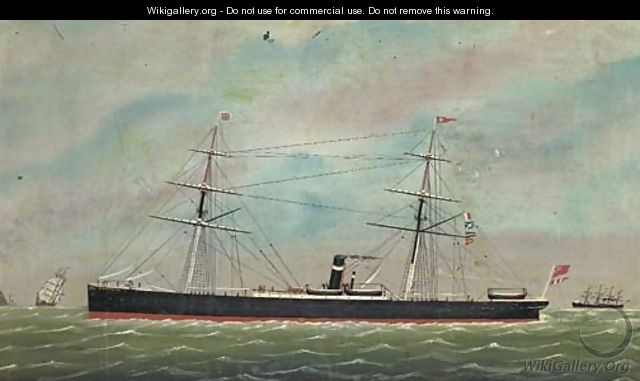 The auxiliary steamer Sesostris off the South Stack Lighthouse, Anglesey - Anglo-Chinese School