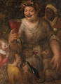 A man as Bacchus drinking wine, with two youths, a magpie, and an ape - Annibale Carracci