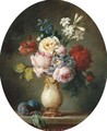 A vase of flowers and two plums on a marble tabletop - Anne Vallayer-Coster