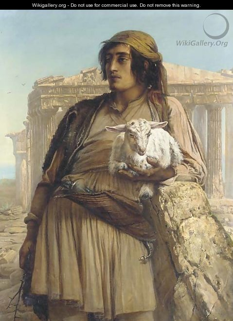 A Shepherd Boy standing before the Parthenon - Anna Maria Elisabeth Jerichau-Baumann