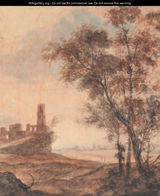 A hilly landscape with a ruin on a hill, trees in the foreground - Anthonie Waterloo