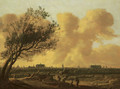 A panaromic view of Leiden with figures under a tree in the foreground - Anthony Jansz van der Croos