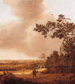 A falconer and travellers on a path in the dunes, a town in the distance - Anthony Jansz van der Croos