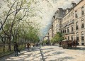 Carriages and figures on a Parisian street - Antal Berkes