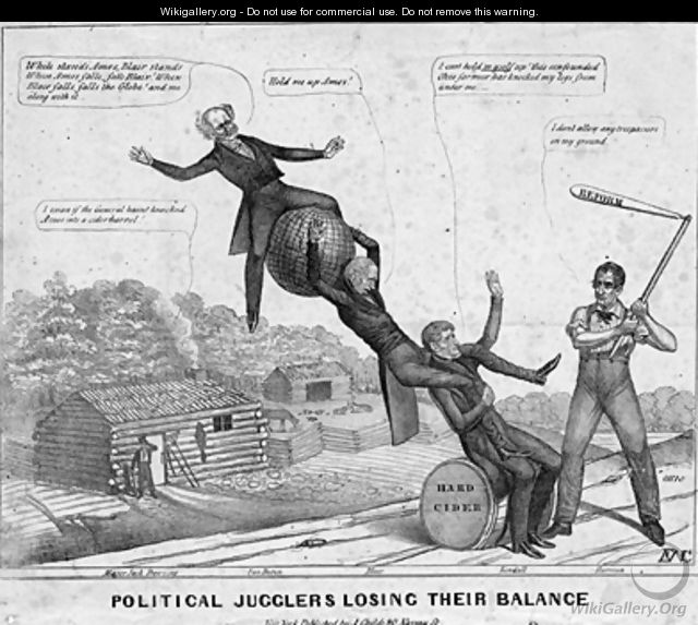 Political jugglers losing their balance - Edward Williams Clay (after)