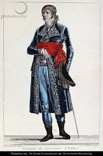 Costume of a Secretary of State during the period of the Consulate 1799-1804 of the First Republic in France - Chataignier