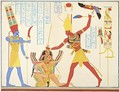 The God Amun offers a sickle weapon to the pharaoh Ramesses III as he strikes two captured enemies - Jean Francois Champollion