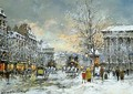 Omnibus at the Place de la Madeleine Winter - Agost Benkhard