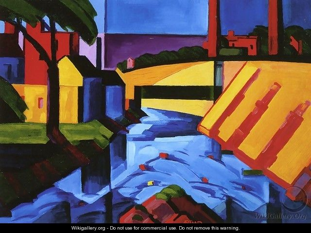 Evening Tones Bronx River at Mount Vernon Private Collection - Oscar Bluemner