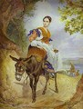 Portrait of O P Ferzen on a Donkeyback - Jules Elie Delauney