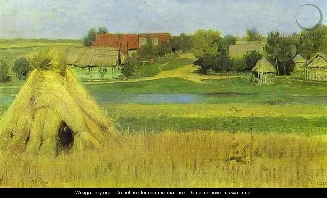 Sheaves and a Village Beyond the River 1885 - Isaak Ilyich Levitan