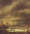 Winter landscape with a lamp-post and a distant view of haarlem - Jacob Van Ruisdael