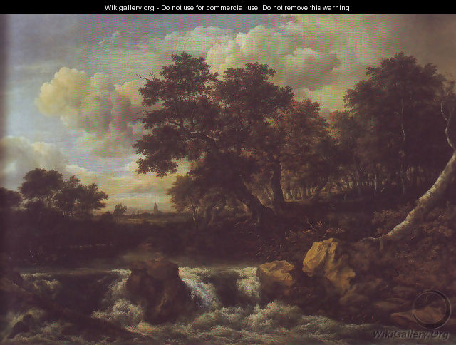 Waterfall near oan oak wood - Jacob Van Ruisdael