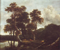 Grove of large oak trees at the edge of a pond - Jacob Van Ruisdael