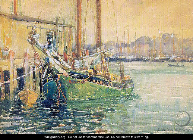 Gloucester Dock with Sailboat - Ferenc Martyn