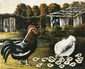 Rooster and Hen with Chickens - Niko Pirosmanashvili