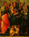 Madonna Enthroned with SS John the Baptist Anthnoy Abbot Stephen and Benedict (Altarpiece of Santa Maria Nuova) - Rosso Fiorentino (Giovan Battista di Jacopo)