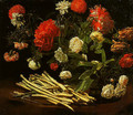 Still Life with Roses Asparagus Peonies and Carnations - Giovanni Martinelli
