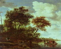 Wooded River Landscape with Cattle on a Ferry - Salomon van Ruysdael