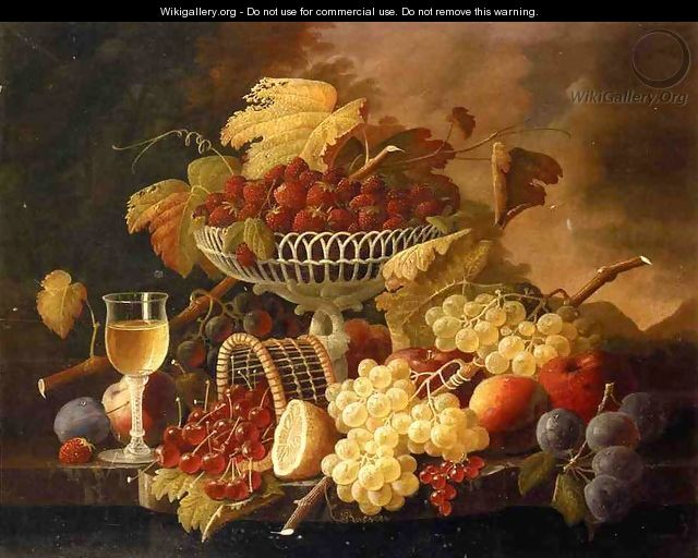 Still Life with Fruit and Wine Glass Date unknown - Severin Roesen