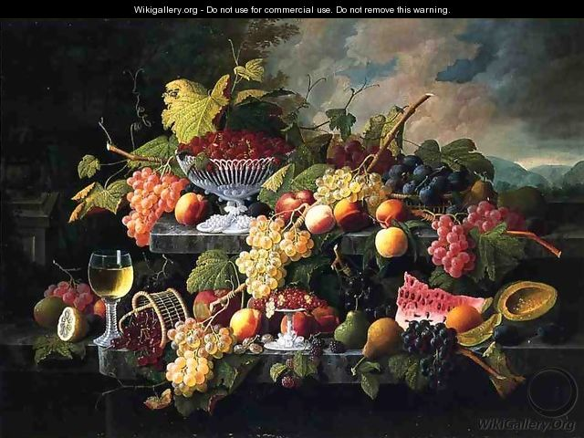 Fruit Still Life with Wine Glass in a Landscape Date unknown - Severin Roesen