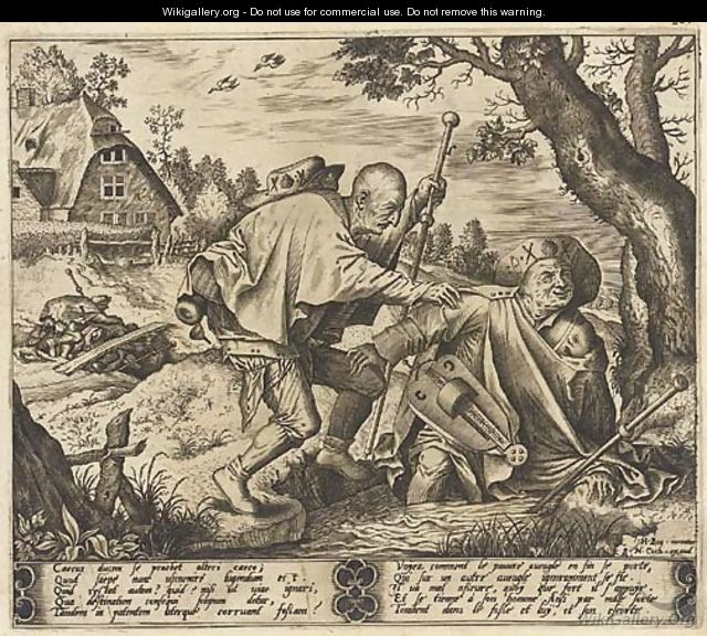 The blind leading the blind (Holl. 21) - (after) Hieronymus Bosch