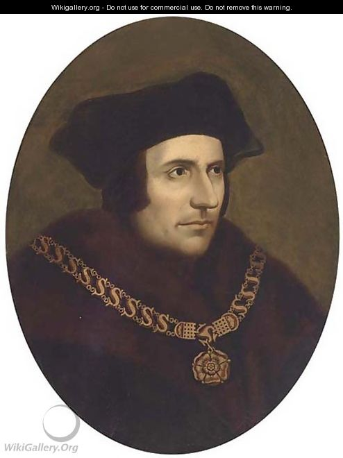 Portrait of Thomas More (1478-1535), bust-length, wearing a chain of office - (after) Holbein the Younger, Hans