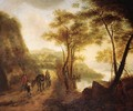 Travellers on a path overlooking a valley in an Italianate landscape - (after) Jan Both