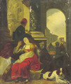 Shepherds resting by a city gate, classical ruins beyond - (after) Jan Baptist Weenix