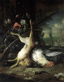 A dead hare hanging from a shotgun with a dead hen, in a classical garden - (after) Jan Baptist Weenix
