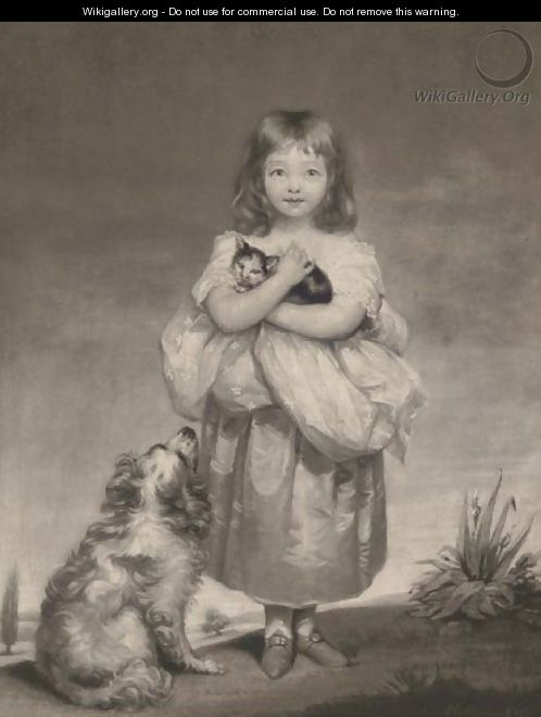 A young girl holding a cat with a dog at her side, by Samuel Reynolds - (after) James Northcote