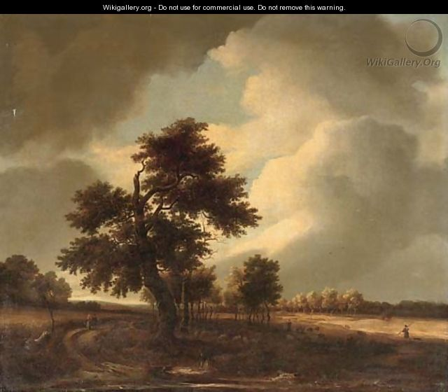 A wooded landscape with travellers on a track and a shepherd with his flock - Isaak van Ruisdael