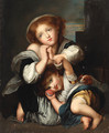 Two children with a dog - Jean Baptiste Greuze