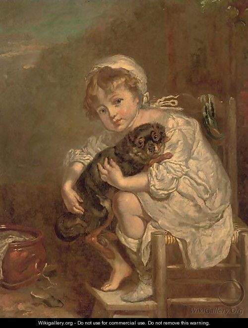 A young girl with a dog - Jean Baptiste Greuze