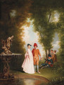 An elegant couple by a sculpted fountain - Jean-Antoine Watteau