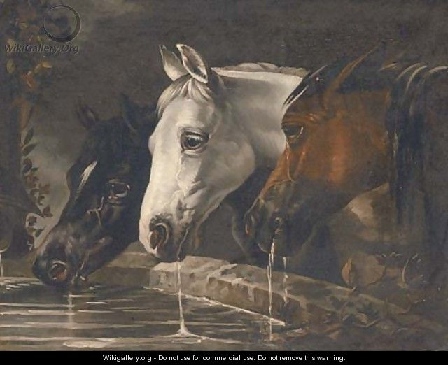 Three horses at a water trough - (after) Herring Snr, John Frederick