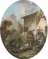 A woman washing clothes at a mill - (after) Francois Boucher